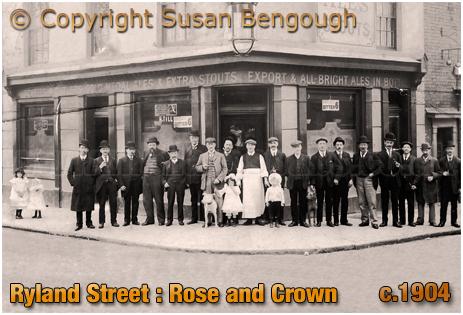 Birmingham : Rose and Crown on the corner of Ryland Street and Grosvenor Street West at Ladywood [c.1904 : © Susan Bengough]