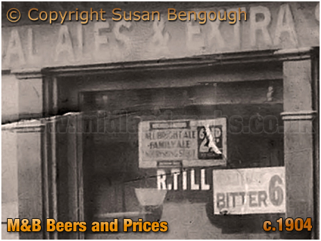 Birmingham : M&B Beers and Prices at the Rose and Crown [c.1904 : © Susan Bengough]