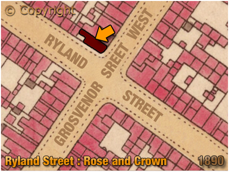 Birmingham : Map showing the location of the Rose and Crown on the corner of Ryland Street and Grosvenor Street West at Ladywood [1890]
