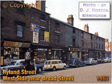 Birmingham : Shops on West Side of Ryland Street close to Broad Street at Ladywood [1961 : Photo by Dennis John Norton © Mark Norton]