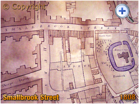 Birmingham : Map of Smallbrook Street [1808]