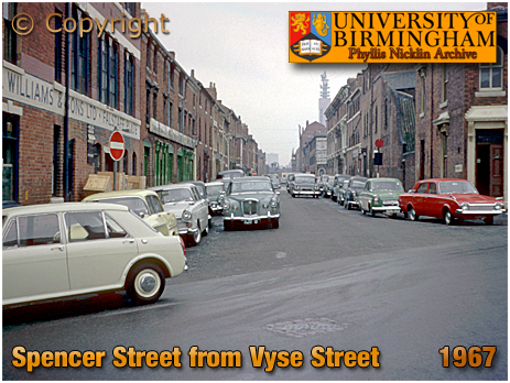 Spencer Street from Vyse Street [April 1967 : Photo by Phyllis Nicklin © MLA West Midlands and University of Birmingham]