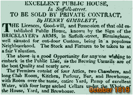 Birmingham : Sale of the Bricklayers' Arms on Suffolk Street [1819]