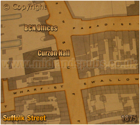 Extract of Gooch Estate Plan showing location of Curzon Hall on Suffolk Street in Birmingham [1875]