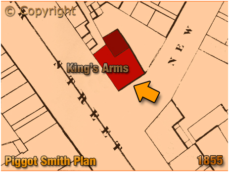 Birmingham : Piggott Smith Plan showing the location of the King's Arms on the corner of Suffolk Street and New Inkleys [1855]