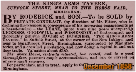 Birmingham : Sale of the King's Arms on Suffolk Street [1858]