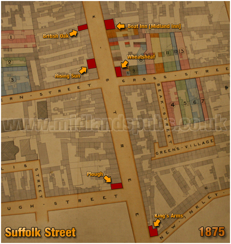 Birmingham : Gooch Estate Plan showing location of the Rising Sun on Suffolk Street [1875]