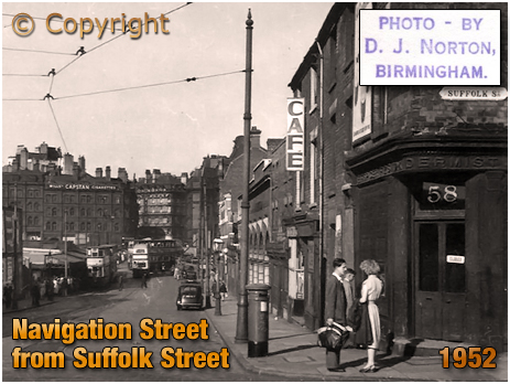 Navigation Street from Suffolk Street [1952; Photo by Dennis John Norton © Mark Norton]
