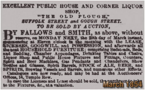 Birmingham : Auction of The Old Plough on the corner of Suffolk Street and Gough Street [1854]