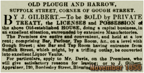 Birmingham : Sale of the Old Plough and Harrow on the corner of Suffolk Street and Gough Street [1850]