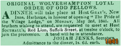 Birmingham : Meeting of the Original Wolverhampton Loyal Order of Odd Fellows at the Red Lion on Suffolk Street [1841]