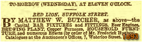 Birmingham : Sale of the fixtures and fittings of the Red Lion on Suffolk Street [1893]