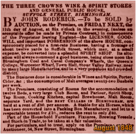 Birmingham : Advertisement for an auction of the Three Crowns Inn on the corner of Suffolk Street and Wharf Street [1848]