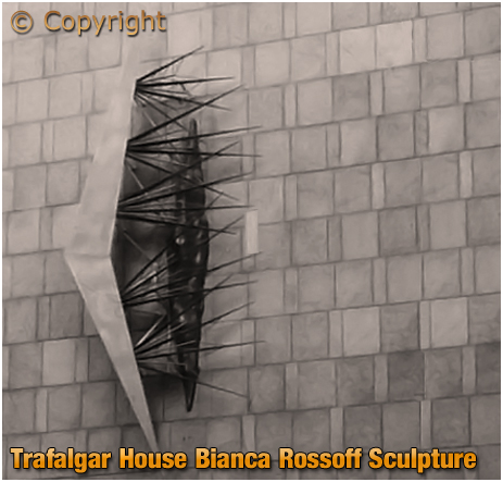 Sculpture by Bianca Rosoff on Trafalgar House on the corner of Suffolk Street and Paradise Street in Birmingham