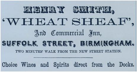Birmingham : Advertisement for Henry Smith of The Wheatsheaf on Suffolk Street [1863]
