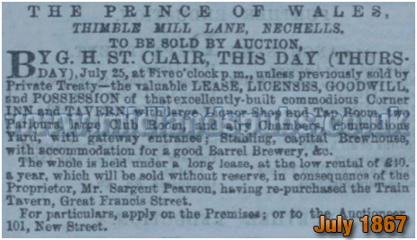 Sale Notice of the Prince of Wales Inn on Thimble Mill Lane at Nechells in Birmingham [1867]