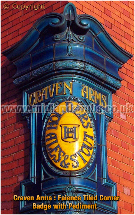 Birmingham : Faience Tiled Corner Badge at the Craven Arms in Upper Gough Street [2002]