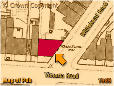 Map showing the location of the White Swan on the corner of Victoria Road and Whitehead Road at Aston in Birmingham [1889]