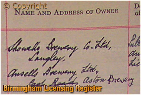 Ownership of the Crown Inn within the Birmingham Licensing Register
