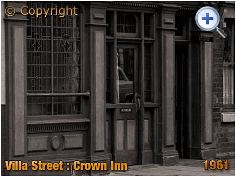 Outdoor entrance to the Crown Inn on Nursery Terrace on Villa Street in Hockley [1961]