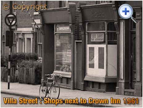 Shops next to the Crown Inn on the corner of Villa Street and Nursery Terrace in Hockley [1961]
