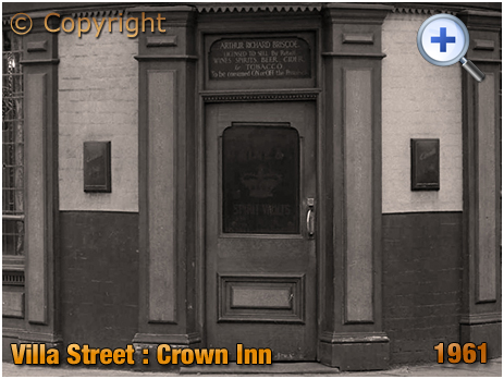 Entrance to old Spirits Vaults of the Crown Inn on Villa Street in Hockley [1961]