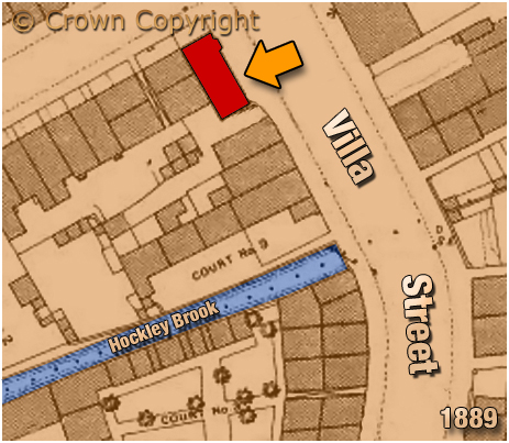 Map showing the location of the New Inn at Villa Street in Lozells [1889]
