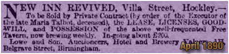 Sale Notice for the New Inn Revived at Villa Street in Lozells [1890]