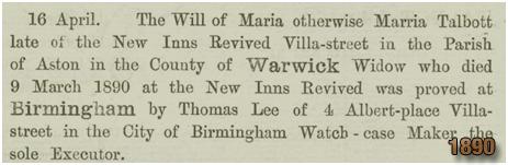 Will of Maria Talbot [1890]