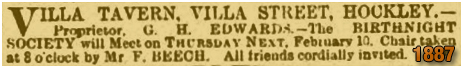 Notice for Birthnight Society at the Villa Tavern in Villa Street at Lozells [1887]
