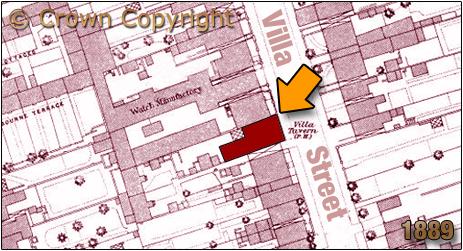 Map showing the location of the Villa Tavern in Villa Street at Lozells in Birmingham [1889]