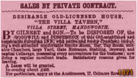 Sale of the Villa Tavern in Villa Street in Lozells [1871]