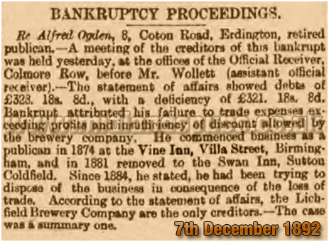 Bankruptcy Proceedings against Alfred Ogden former licensee of the Vine Inn at Villa Street in Hockley [1892]