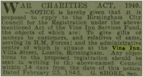 Notice of the Act of the Vine Inn Services Fund [1943]