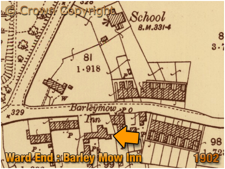 Map showing the location of the Barley Mow Inn at Ward End in Birmingham [1902]