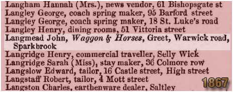 Birmingham : Trade Directory listing for the Waggon and Horses on Warwick Road at Greet [1867]