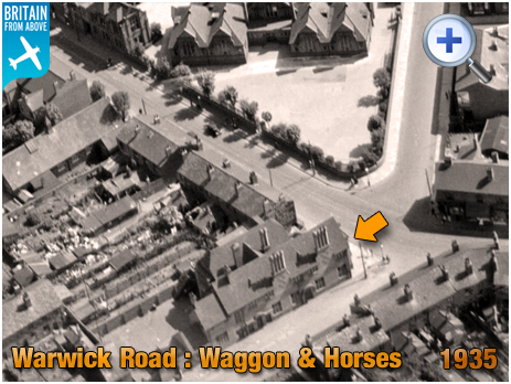 Birmingham : Aerial photograph showing the Waggon and Horses on Warwick Road at Greet [1935 courtesy of Britain From Above]