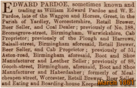 Birmingham : Notice of insolvency of William Edward Pardoe of the Waggon and Horses on Warwick Road at Greet [March 1861]