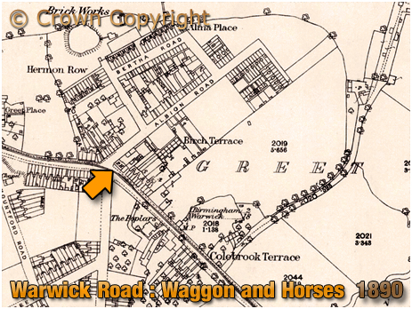 Birmingham : Map extract showing the site of the Waggon and Horses on Warwick Road at Greet [1890]