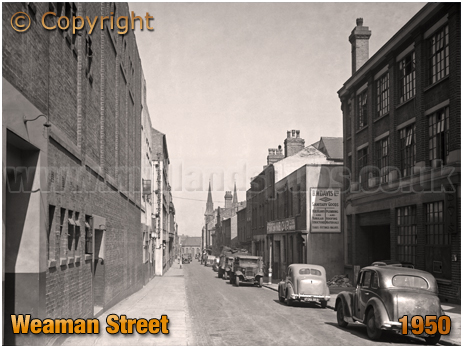 Birmingham : Cars and Factory in Weaman Street [1950]