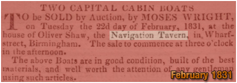Notice for Boat Auction held at the Navigation Inn at Wharf Street in Birmingham [1831]