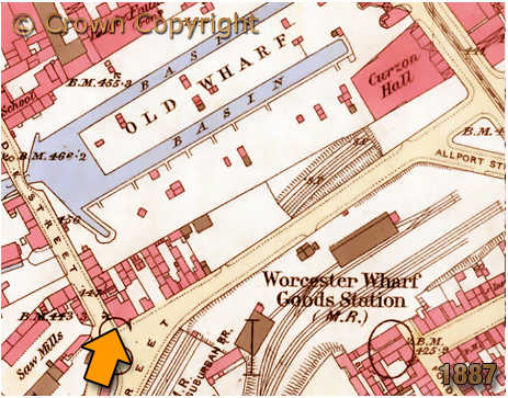 Map showing the location of the Boatmen's Rest on the corner of Wharf Street and Bridge Street in Birmingham [1887]
