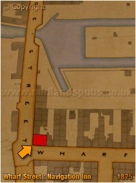 Map showing the location of the Navigation Inn on the corner of Wharf Street and Bridge Street in Birmingham [1875]