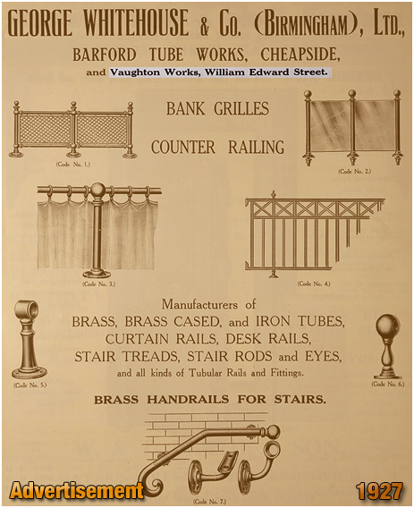 Birmingham : Advertisement for George Whitehouse & Co. Tube Works at Cheapside and Highgate [1927]