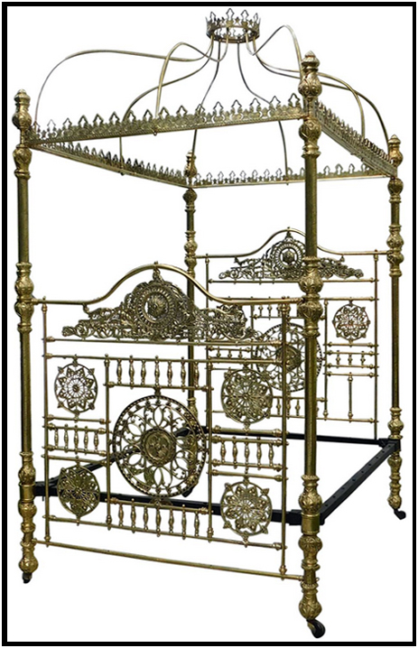 Birmingham : Ornate Brass Bedstead made at the Vaughton Works of James Tombs in Highgate