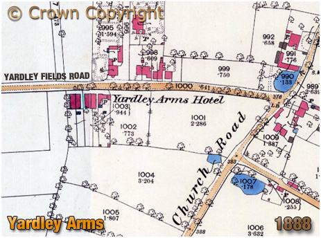 Birmingham : Map extract showing the location of the Yardley Arms at Stechford in Yardley [1888-1888]
