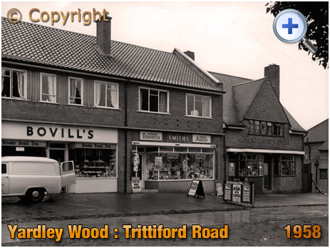 Birmingham : Off Licence and Shops on Trittiford Road at Yardley Wood [1958]