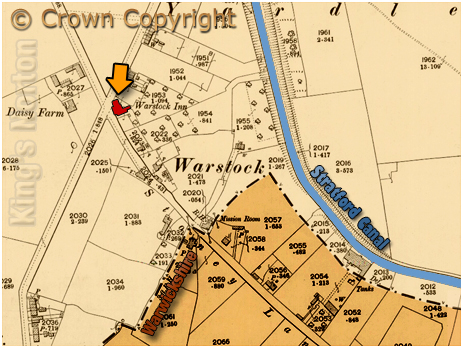Birmingham : Map showing the location of the Warstock Inn at Yardley Wood [1884]