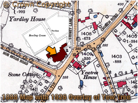 Birmingham : Map extract showing the location of the Yew Tree Inn at Yardley [1888-1926]