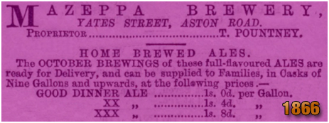 Advertisement for the Mazeppa Brewery on Yates Street at Aston in Birmingham [1866]
